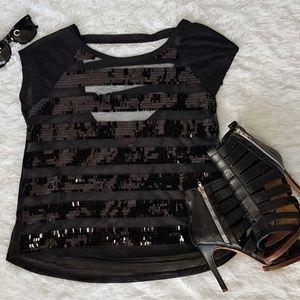 Bebe Sheer black sequin top Size S